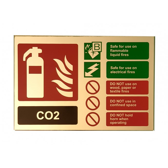 CO2 ID Sign Contempo Polished Gold Finish – Landscape