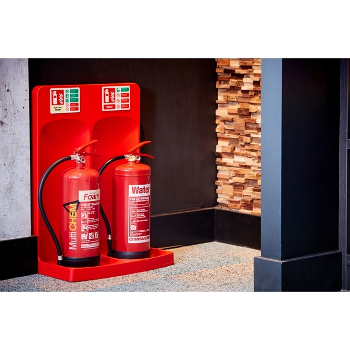 Commander Double Extinguisher Stand Red