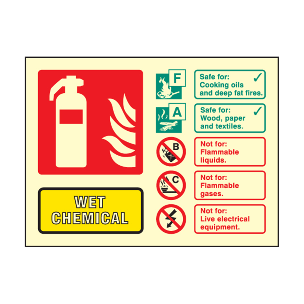 Landscape Photoluminescent Wet Chemical Fire Extinguisher Sign