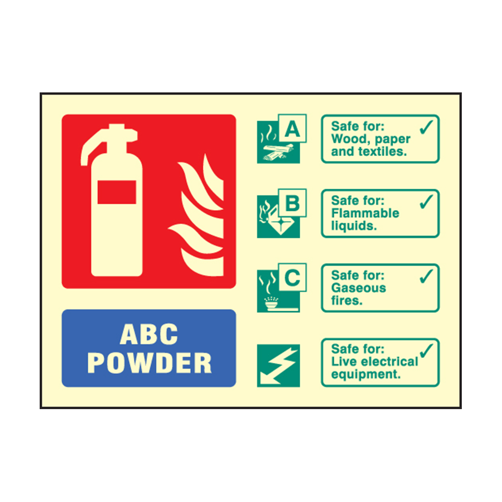Landscape Photoluminescent ABC Dry Powder Fire Extinguisher Sign