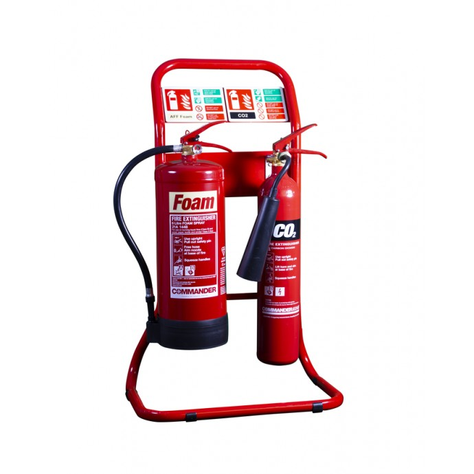 Double Tubular Extinguisher Stand Red