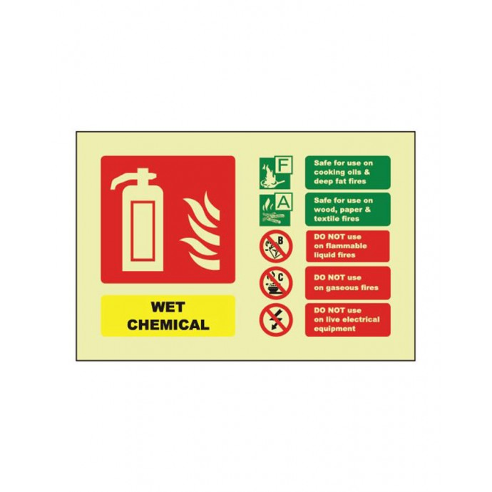 Wet Chemical ID Sign Photoluminescent (Landscape) 150mm x 100mm
