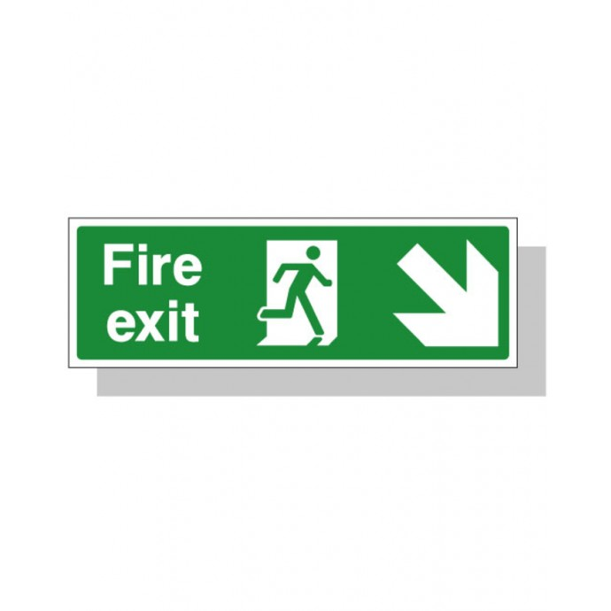 Fire Exit Sign – Down Right Direction